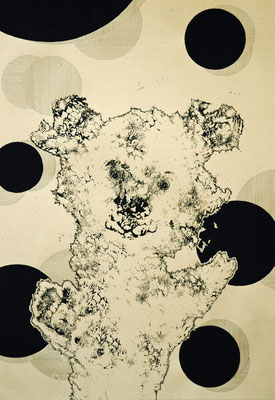 踊り続けるクマ 2014年 インク、アクリル、紙 36cm×25cm