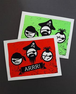 ARRR // zweifarbiger Siebdruck, 300g Karton cremeweiß, 18 x 24 cm, limitiert auf 20 Stück je Farbe, nummeriert und handsigniert // 15 €