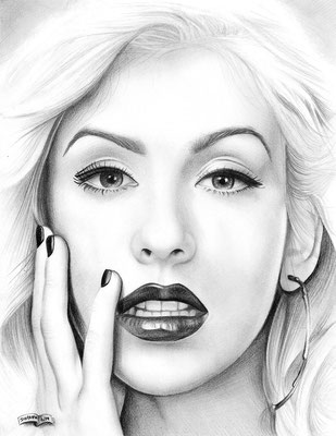 Christina Aguilera | Copyrights © ART GOD & LOVE INC - Drawing by Dayron Villaverde