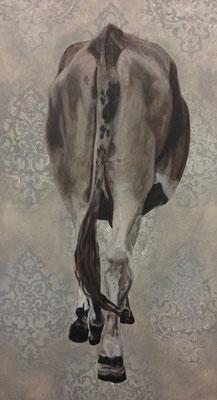 Kuh (All about girls and cows) 2016  100 x 180 cm  Acryl/Öl/Leinwand