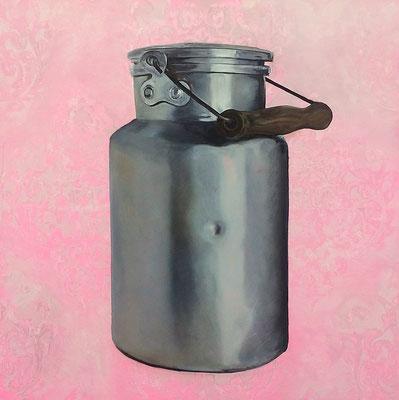 Milchkanne (Landleben) 2017  80 x 80 cm  Acryl/Öl/Leinwand