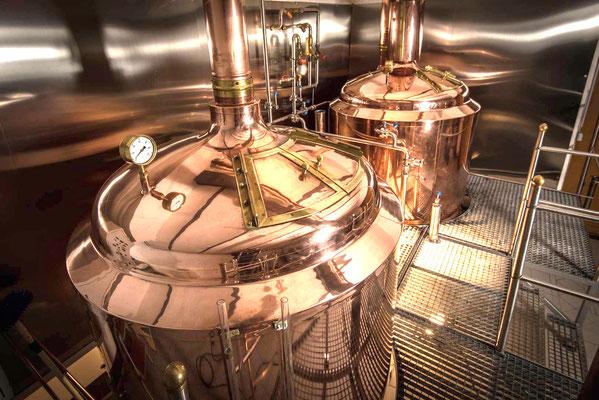 kupferne Braukessel in der kleinen feinen Brauerei BRAU-ART in Grünstadt Sausenheim
