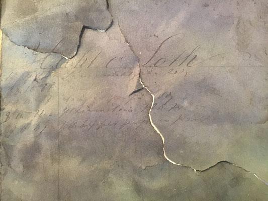 Noch nicht entziffertes Schriftstück aus dem Dachstuhl des Weinhaus Moser
