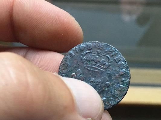 Fund bei Kanalarbeiten: Kupfermünze von Ludwig XIIII (1718) belegt das Alter des Weinhaus Moser