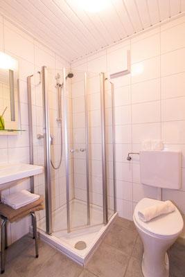 Dusche und WC im Zimmer mit Balkon und Seeblick
