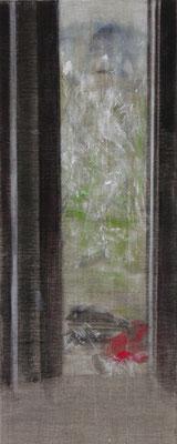 Fenster, Sommer | 2009, Eitempera, Tusche, Pastell/Leinwand, 150 x 60 cm