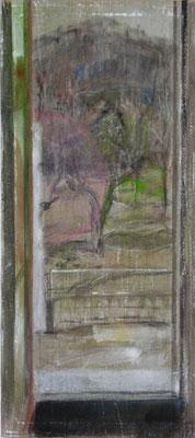 Fenster, Vorfrühling | 2009, Eitempera, Tusche, Pastell/Leinwand, 145 x 60 cm