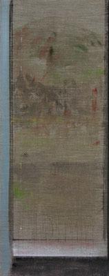Fenster, Frühling | 2009, Eitempera, Tusche, Pastell/Leinwand, 150 x 60 cm