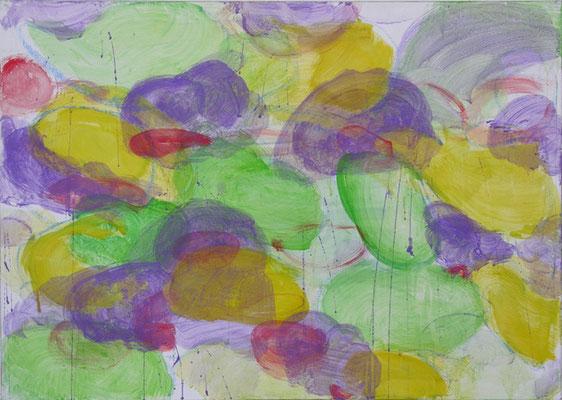 Wiese mit Akeleien | 2006/07, Eitempera, Tusche auf Leinwand, 77,5 x 108,5cm