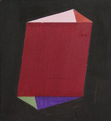 Raum//Bild Kristall | 2014,  Eitempera, Tusche auf Holz, 17,5 x 16 cm