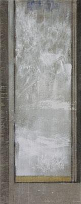 Fenster, Winter| 2009, Eitempera, Tusche, Pastell/Leinwand, 150 x 60 cm