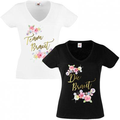JGA Shirt – Braut Blumen