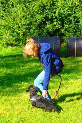 10 Antonie schnallt Resi zum frei bei Fuß gehen.