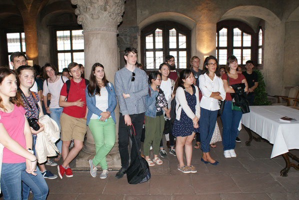 German Language Summer Course, Learn German in Würzburg, cultural programme, reception of the City of Würzburg, city hall, group photo international students