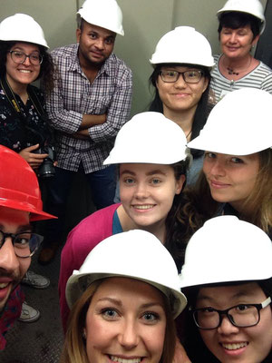 German Language Summer Course, Learn German in Würzburg, cultural programme, guided tour at industrial site, international students with safety helmets