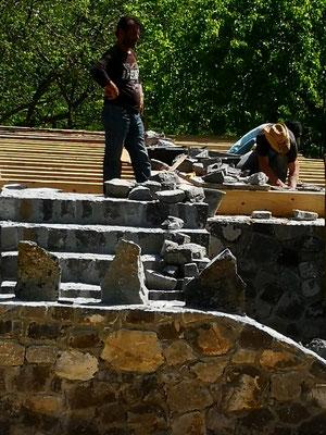 Kunstvolle Steinarbeit an neuen Restaurant