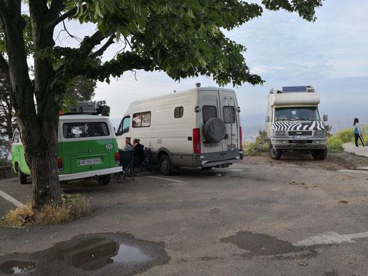 Camperversammlung an der Seilbahnstation