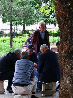 Kartenspiel im Park