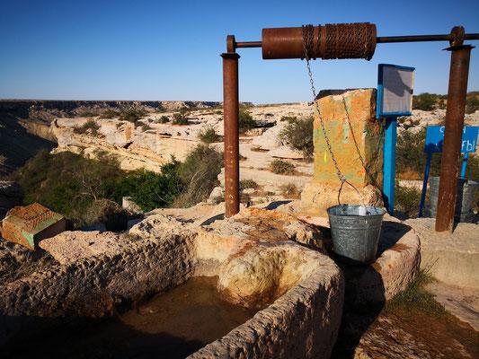 dann Wasser aus dem Brunnen geschöpft und getrunken, auch die Hunde bekommen