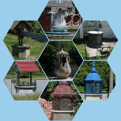 die ukrainischen Brunnenmodelle vor jedem Zaun/Haus