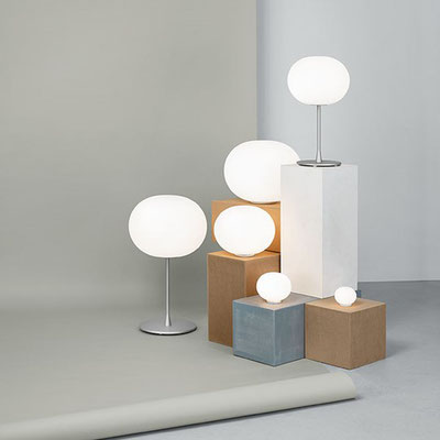 flos glo ball familie dimmbar switch on off glas opal