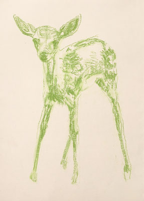 Drawing, serie green deers, available at my studio, 2019