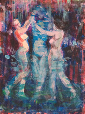The Dance     18 x 24 cm, Acrylic on canvas, 2016, available at Cube Gallery in Joppe