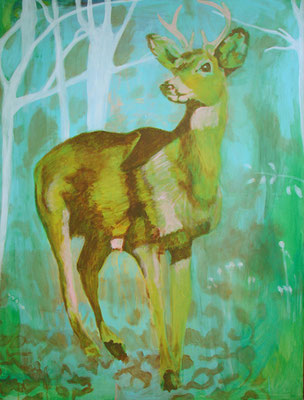 Green deer, available at my studio, 2019
