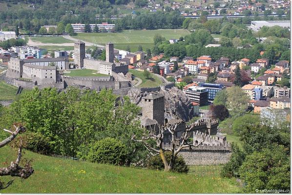 Blick vom Sasso Corbaro hinunter auf Bellinzona und