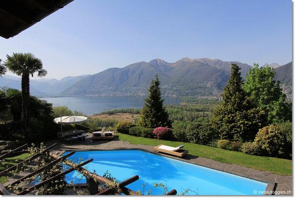 traumhaftem Blick auf den Garten, Pool und über den Lago Maggiore hinüber nach Locarno.