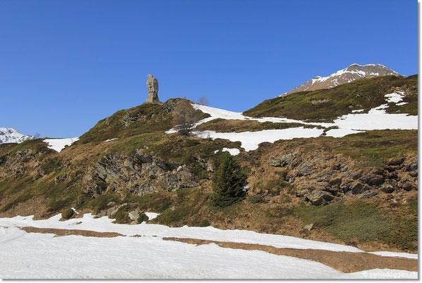 Blick auf den Steinadler auf der Passhöhe auf 2005 m ü. M.