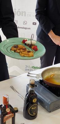 """Crepes Suzettes con helado de queso fresco de Cabra Montes de Málaga, postre del evento """"La Excelencia de la Gastronomía Malagueña"""
