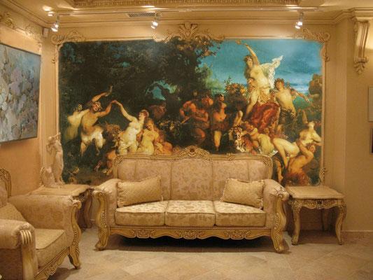 Дизайн гостиной _ классическая роспись стен