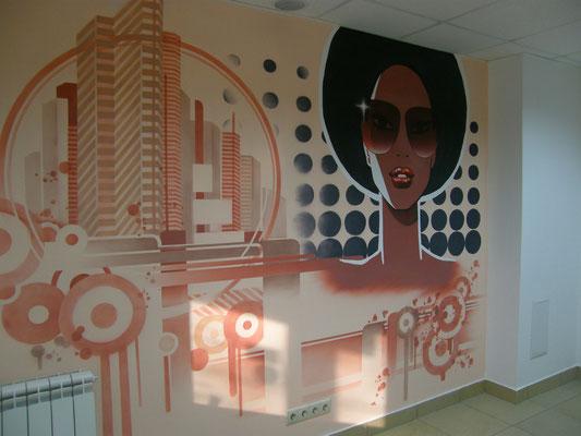 Дизайн интерьера в салоне красоты Роспись стен Аэрография