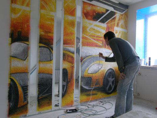 Процесс нанесения аэрографии роспись стен в детской
