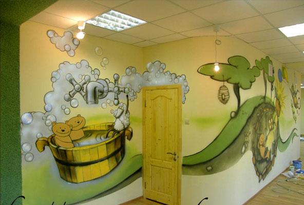 Оформление ДОУ  роспись стен в детском саду