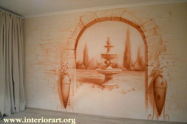 Роспись стен дизайн гостиной фото