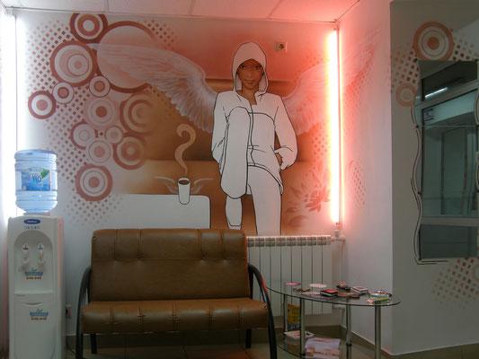 Аэрография на стенах Дизайн салона красоты