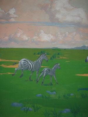 Роспись стены в детской под африку