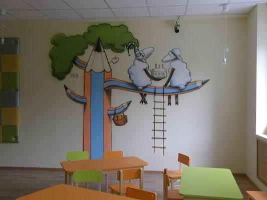 Роспись стен в детском саду _ аэрография