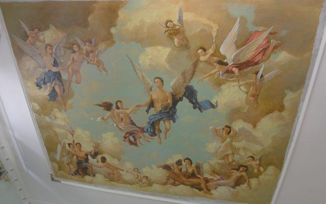 Роспись потолка маслом _ интерьер гостиной