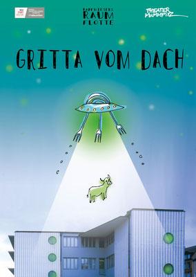 """""""Gritta vom Dach"""" - kapfwiesers RAUMFLOTTE - Illustration M.Pfeiffer - Foto G. Hagen"""