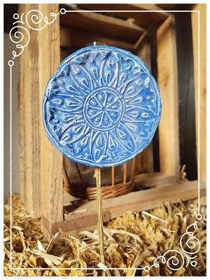 Blumenstecker, Dekostecker, getöpfert, aus Ton, lasiert, Handmade by Wilma, Deko-Mühle, Brakel