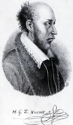 Quelle: Grafschafter Museum Moers, Federzeichnung von Graf Hermann von Neuenahr und Moers mit seiner  Unterschrift