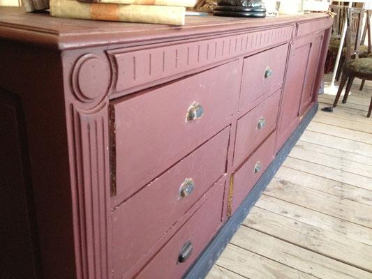 comptoir a tiroirs peinture patinee ancienne