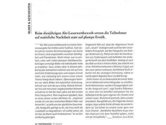Photowettbewerb Akt, Artikel
