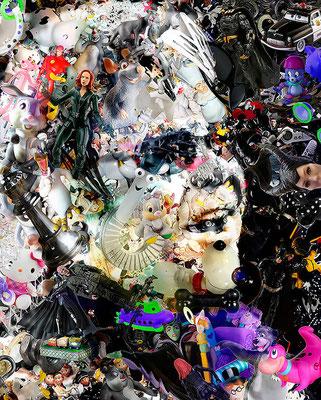 Ilusión Óptica Elton John / Arte Digital sobre retablo en madera con acabado en resina / 1.50 x 1.22 mts / DISPONIBLE