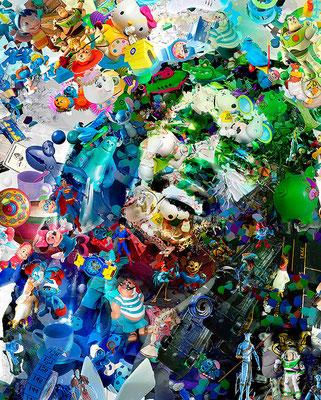 Ilusión Óptica Bob Marley / Arte Digital sobre retablo en madera con acabado en resina / 1.50 x 1.22 mts / DISPONIBLE