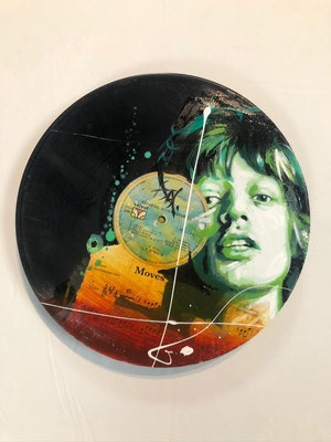 Discos de vinilo pintados en acrílico con acabado en resina / DISPONIBLE