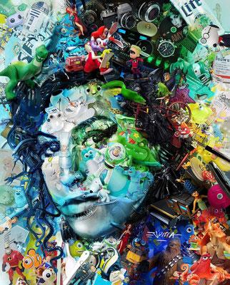 Ilusión Óptica Amy Winehouse / Arte Digital sobre retablo en madera con acabado en resina / 1.50 x 1.22 mts / DISPONIBLE